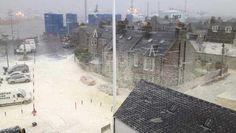 Footdee Aberdeen storm wave foam