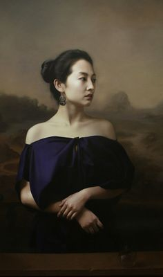 Artist: Wang Neng Jun (王能俊) {contemporary figurative realism beautiful female seated asian woman face profile painting #loveart}