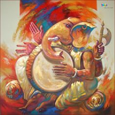 The artist has shown the melodies moment of Ganesha in which he is playing traditional musical instrument Dhol. #Ganesha #Painting #IndianArt