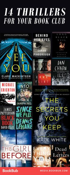 A list of 14 thriller books and psychological thrillers full of suspense. These would make great ideas for book club! Featuring twists and crime.