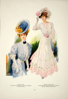 1907 Color Print Edwardian Women Fashion Costume Clothing Hat Pink Blue Model | eBay