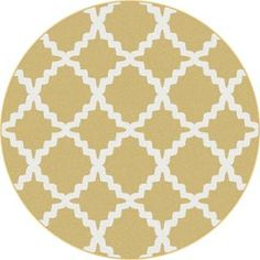 Metropolis 1033 Yellow Contemporary Area Rug (7'10 Round) | Overstock.com Shopping - Great Deals on Round/Oval/Square