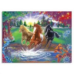 The thick, durable pieces of this puzzle when assembled, feature three horses about to splash across the river. This best quality cardboard jigsaw puzzle represents a great value! Bright, sturdy packaging will withstand many uses. Beautiful Horses, Animals Beautiful, Bon Mardi, 300 Piece Puzzles, Horse Wallpaper, Free Horses, Equestrian Gifts, Horse Gifts, Kids Story Books