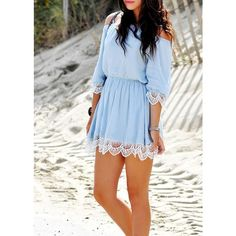 Off The Shoulder Lace Splicing Casual Dress|Disheefashion ($23) ❤ liked on Polyvore featuring dresses, lace dress, off-the-shoulder lace dresses, lacy dress, blue dress and off the shoulder lace dress
