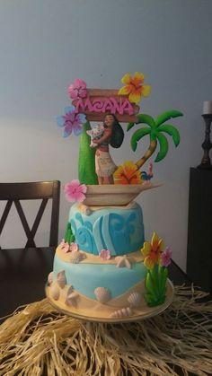 Moana Theme Birthday, Moana Themed Party, Moana Party, Luau Birthday, Disney Birthday, 6th Birthday Parties, Birthday Cake Girls, Birthday Ideas, Bolo Fack