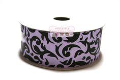 1 1/2 Lavender and Black Damask Grosgrain by wholesaleflowers
