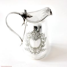 Antique Estate Silver Soldered English Floral Covered Pitcher