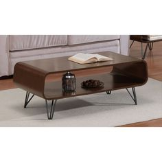 Set includes: Coffee Table. Product features: Sturdy construction, retro design, rich, medium walnut finish on table, scratch and mar resistant charcoal grey powder coat finish on legs. | eBay!