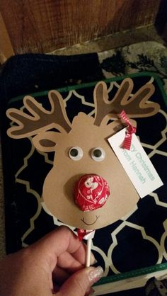 Reindeer, Rudolph, lollipop, gift for kindergarten class, cameo silhouette paper project