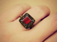 Dark Red Ring Jewelry Rings Cocktail Rings Czech Ring by gabeadz