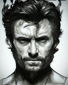 Hugh Jackman as Wolverine from X-Men movies, drawing by Sean Pence from Pittsburgh