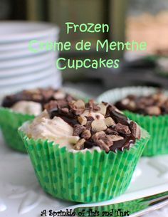 Frozen Creme de Menthe Cupcakes made with just a few ingredients!