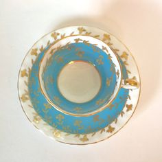 Vintage Turquoise Aynsley Footed Fine China Tea Cup with Gold - Circa 1930's England by HouseofLucien