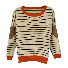 Your Gallery Women's Striped Elbow Patches Knitwear Sweater Round Neck Pullover