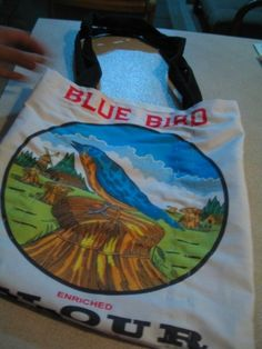 Blue+Bird+Flour+5+Lb | Blue Bird flour sack tote bag. Blue Bird brand flour is favored in NM ...
