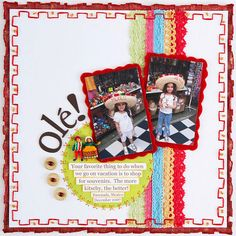 Sewing Tips for Scrapbook Pages - see more examples on site