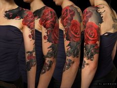 Red and Black Rose half sleeve tattoo