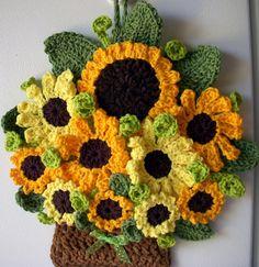 Crochet sunflowers in basket, by Jerre Lollman