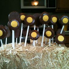 Tractor wheels! Chocolate cover Oreos for birthday party.