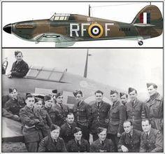 Members of 303. Squadron beside Hawker Hurricane sn V6684 RF*F - RAF Northolt September 1940.