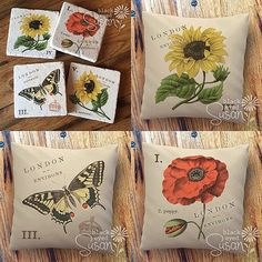 Botanical coasters and pillows.