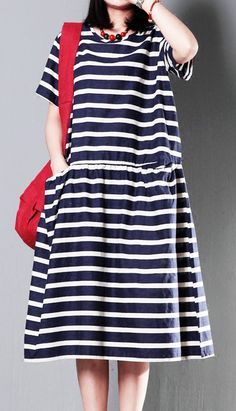 Striped cotton sundress plus size linen maxi dress summer maternity dress