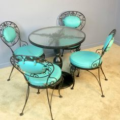 Woodard Chantilly Rose Pedestal Glass Top Patio Table 4 Chairs Dining Vintage | eBay