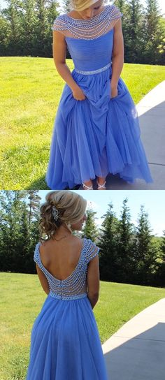2017 blue long prom dress homecoming dress, Gorgeous A-line Long Light Blue Beads Cap Sleeves Prom Dress