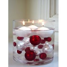 Floating Candle Centerpiece with ornaments - good for December