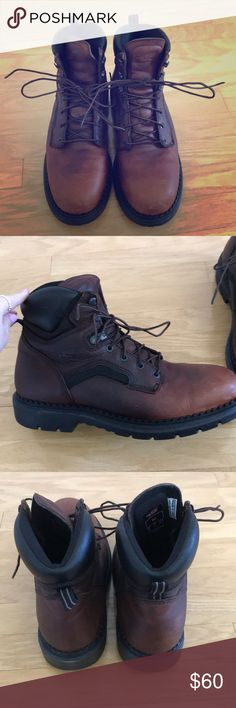 Red Wing work boots NWOT. Worn once, men's size 12. Leather boots, still have the tags Red Wing Shoes Shoes Boots