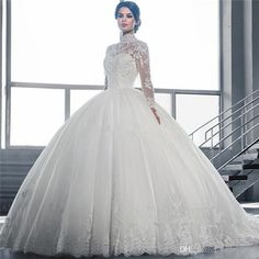 2016 Muslim Long Sleeve Wedding Dresses High Collar Crystal Beaded Ball Gown Lace Puffy White Modest Bridal Dress Aline Dress Big Wedding Dresses From Baileycoltd, $165.83  Dhgate.Com