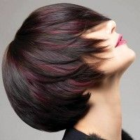 brown bob hairstyle with red highlights