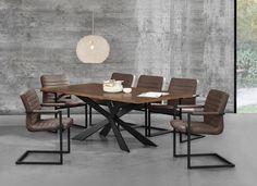 Tisch in edlem und zeitlosem Walnuss-Design + Designstuhl im 6er-Set - 86,5 x 60cm - dunkelbraun