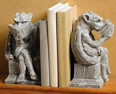 Bookworm Gargoyle Bookends at Bas Bleu Industrial Bookends, Wooden Bookends, Little Library, Little Books, Book Lovers Gifts, Book Gifts, Book Sleeve, Gifts For Readers, Book Nooks