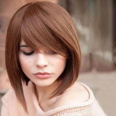 Attractive Side Bang Trendy Short Capless Straight Bob 100 Percent Human Hair Women's Wig
