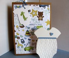 SET Baby Shower Gift Bag, Embossed Onesie Card & Tag. Decorated Kraft Gift Bag. New Baby. Blue. Green. Yellow. Brown