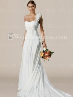Slim Wedding Dress with Single Floral Strap BC339......Dress for the ceremony