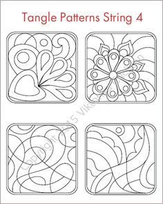 Strings for drawing zentangles tangle pattern printable for Zentangle tile template