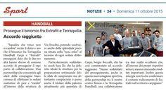 """""""Prosegue il binomio fra Extrafit e Terraquilia. Accordo raggiunto"""" (Settimanale Notizie, domenica 11 ottobre 2015)"""