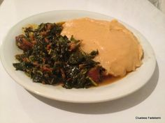 Unripe Plantain Swallow with Fresh Vegetable Soup #naijafood #nigerianfood