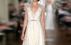 Custom Made White Aline Vneck Cap Sleeve Long Lace by MsClothes, $312.99