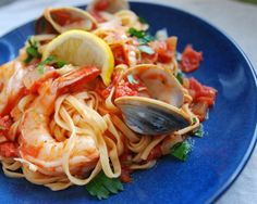 Diablo Pasta Sauce with Clams and Shrimp.