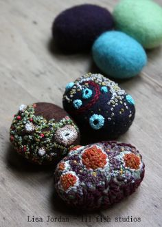 felted and stitched stones by Lisa Jordan of lil fish studios