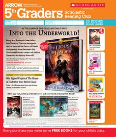 It's the October 2013 Scholastic Reading Club Flyer for 5th Graders!