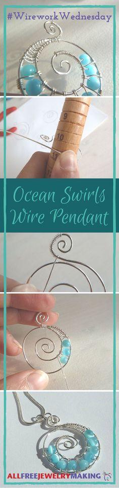 Ocean Swirls Wire Pendant
