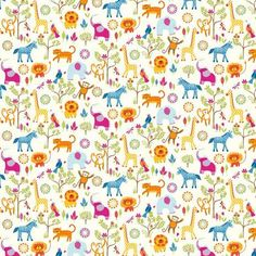 Featuring a vibrant print of cartoon animals, our colourful cotton fabric is perfect for updating your upholstery and to use for creative home projects.