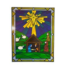 The beautiful Nativity Glass Cling gives a stained glass effect on your windows. Measuring 12 inches by 17 inches, this is a unique addition to your nativity decorations. Stained Glass Window Clings, Stained Glass Quilt, Faux Stained Glass, Stained Glass Projects, Stained Glass Patterns, Stained Glass Windows, Christmas Nativity, Christmas Art, Winter Christmas