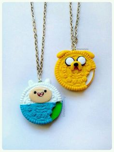 adventure time fin & jake oreo necklace