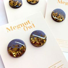 "Resin Earrings | Megsy on Instagram: ""We cannot get enough of this stunning Storm Grey + Dark Gold 💛✨ Newly listed today! 3 pairs only ✨✨✨ www.megnutowl.com #shopsmall…"" Handcrafted Jewelry, Resin, Owl, Pairs, Jewellery, Canning, Grey, Earrings, Instagram"