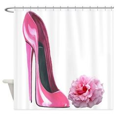 Shop Pink Rose and High Heel Stiletto Shower Curtain designed by ckeenart. Lots of different size and color combinations to choose from. Stiletto Shoes, High Heels Stilettos, Pumps, Modern Shower Curtains, Shoe Art, Girly Girl, Pretty In Pink, Fashion Art, Christian Louboutin